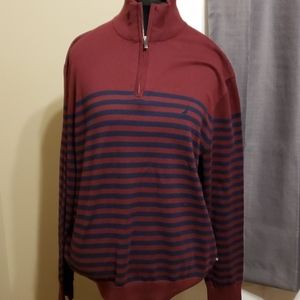 Nautica lightweight burgandy striped sweater